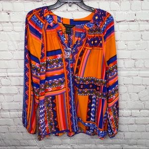 Investments Multi Colored Blouse NWOT Size XL